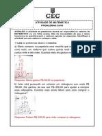 ATIVIDADE DE MATEMÁTICA  - PROBLEMAS Gabarito lo