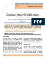 The relationship between humanistic teachers' characteristics practices and students' learning