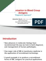 Alloimmunisation to Blood Group Antigens
