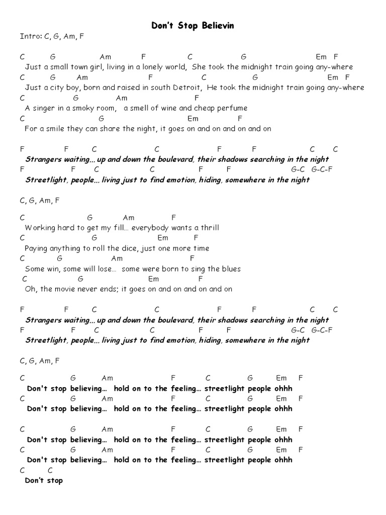 Old Fashioned Don T Stop Believin Guitar Chords Composition Basic