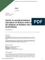 Après le postdramatique_ narration et fiction entre écriture de plateau et théâtre néo-dramatique