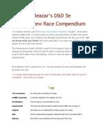 Eleazar's D&D 5e Homebrew Race Compendium