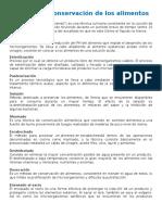 18052017.- Método de conservación de los alimentos Escaldad   Acidificación  Esterilización  Pasteurización  Salazón  Ahumado