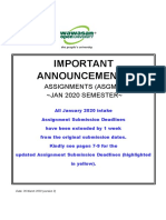 Important Assignment Announcements - Jan 2020 - 2