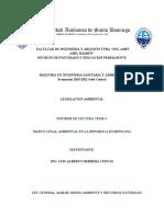 Informe de Lectura MARCO LEGAL AMBIENTAL EN LA REPUBLICA DOMINICANA