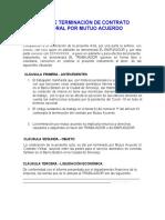 ACTA DE TERMINACIÓN DE CONTRATO LABORAL POR MUTUO ACUERDO