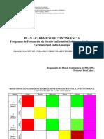 Proyección de las actividades a desarrollar por semanas y días en el Plan de Contingencia Académica