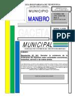 Gaceta Municipal Nº 909 del 19-10-18 (Resolución Nº 341 Ordenanza Actividades Económicas )