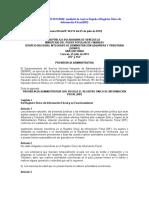 Providencia N°0048 Regulación del RIF
