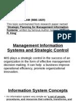 MIS & Strategic Control