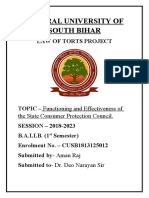 Functioning and effectiveness of state consumer protection council