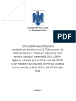 lista nominală a celor 20.000 de prizonieri românide război şi civili înhumaţi pe teritoriul Rusiei