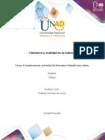Formato Tarea 4 ajustado 2020-1 -  Implementar actividad de literatura infantil para niños
