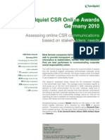 Lundquist CSR Online Awards Germany 2010 Executive Summary