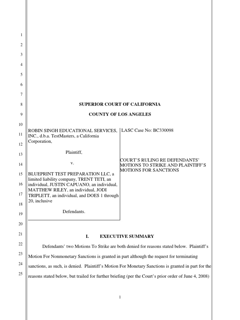 Blueprint sanctions order discovery law lawsuit malvernweather Choice Image