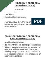 2.- TEORÍAS QUE EXPLICAN EL ORIGEN DE LA SOCIEDAD