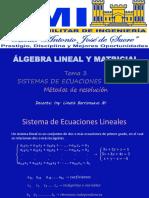 SISTEMAS DE ECUACIONES LINEALES - MÉTODOS DE RESOLUCIÓN