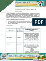 DESARROLLO EVIDENCIA 1 FUNCION DE LOS ALIMENTOS APRENDIZ ALEX PAEZ
