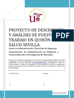 PROYECTO DE DESCRIPCIÓN Y ANÁLISIS DE PUESTOS DE TRABAJO EN QUIRÓN-SALUD SEVILLA_