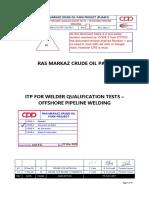31-3  ITP for Welder Qualification Tests - Offshore Pipeline Welding