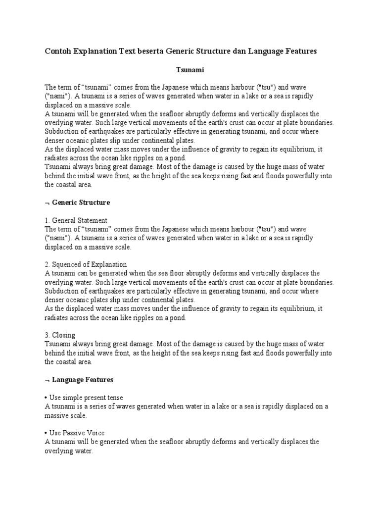 246442300 Contoh Explanation Text Beserta Generic Structure Dan Language Features Docx Tsunami Plate Tectonics