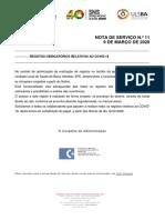 3. Nota de Serviço n.º 11 ULSBA - PC COVID 19  Registos relativos a COVID 19 11_03