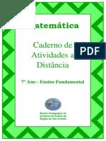 Caderno de Atividades de matemática a distância - quarentena 7º ano Ensino Fundamental