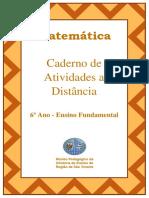 Caderno de atividades de matemática a distância - 6º ano ano fundamental