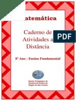 Caderno de atividades de matemática a distancia - 8º ano fundamental