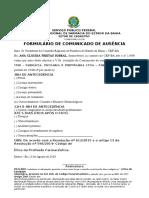 FORMULÁRIO DE COMUNICADO DE AUSÊNCIA