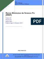 Revue béninoise de sciences Po