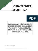 MEMORIA ELECTRICA REGENERACIÓN URBANA DISTRIBUIDOR DE TRÁFICO
