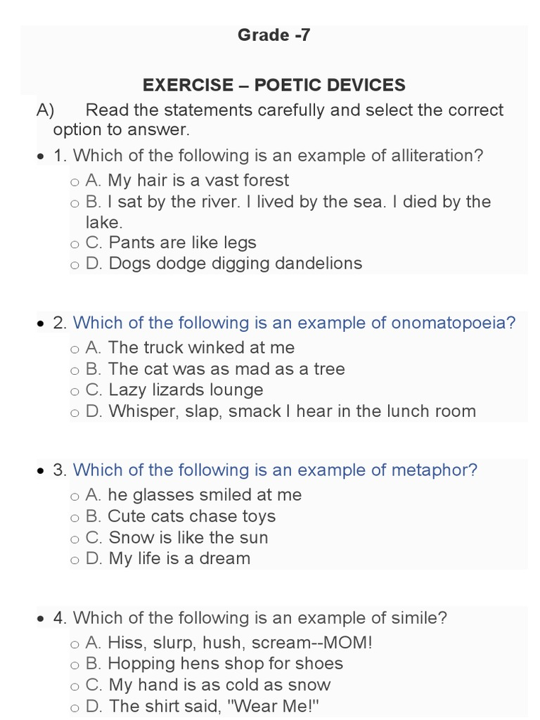 EXERCISE - POETIC DEVICES Grade 22  PDF  Poetic Devices Throughout Sound Devices In Poetry Worksheet