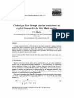 Morris 1996 - Choked Gas Flow Through Pipeline Restrictions - An Explicit Formula for Inlet Mach Number
