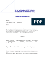 MODELO DE DEMANDA DE DIVORCIO CONTENCIOSO DE MATRIMONIO CIVIL