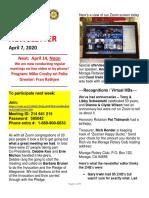 Moraga Rotary Newsletter April 7 2020