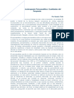 El perfil del Psicoterapeuta Psicoanalítico
