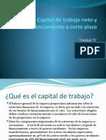 Capital de trabajo neto y financiamiento a corto