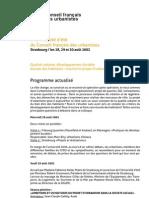Programme de l'université d'été de Strasbourg 2002