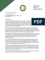 Rep. Kresha Letter to Gov. Walz