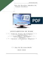 Apontamentos Word - Cabeçalhos e Rodapés - Capitulações - Tabelas - Inserir e Formatar Objetos