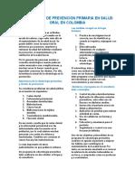 PROGRAMAS DE PREVENCION PRIMARIA EN SALUD ORAL EN COLOMBIA