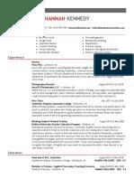 hannah kennedy resume 2020