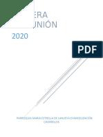 AGENDA Y REGLAMENTO A DESARROLLAR DURANTE EL AÑO 2020