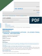 Associate Programme Officer (Vacant Position at Geneva, Switzerland)