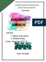 """Informe de practica del laboratorio """"Reacciones químicas"""""""