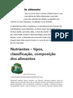 Conceito de alimento-classificação segundo a função