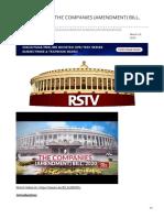 insightsonindia.com-RSTV IN DEPTH- THE COMPANIES AMENDMENT BILL 2020