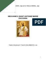 NEUVAINE à Saint Antoine Marie Zaccaria
