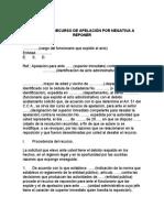 MODELO DE RECURSO DE APELACIÓN POR NEGATIVA A REPONER